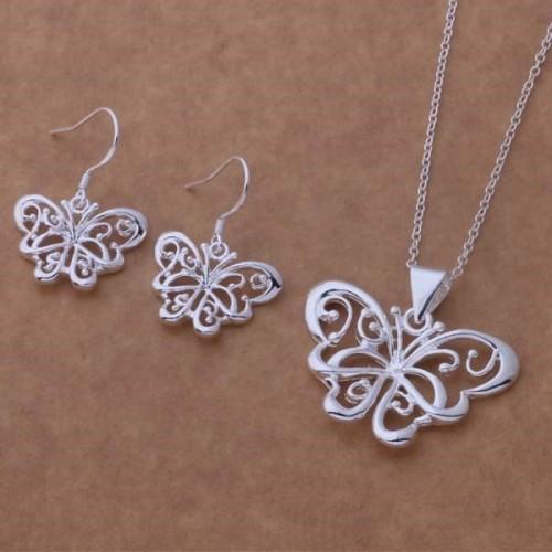 Komplet srebrnej biżuterii - motyw motyla