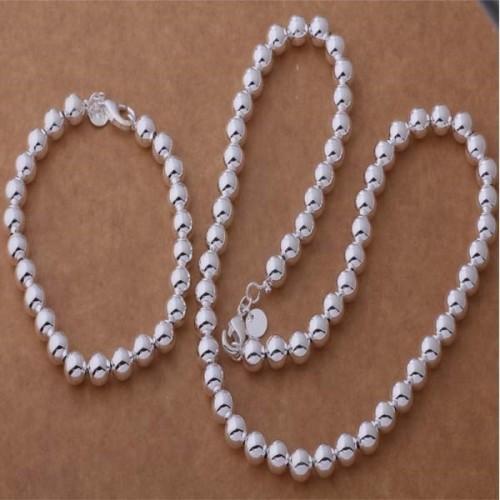 Komplet srebrnej biżuterii - bransoletka + naszyjnik