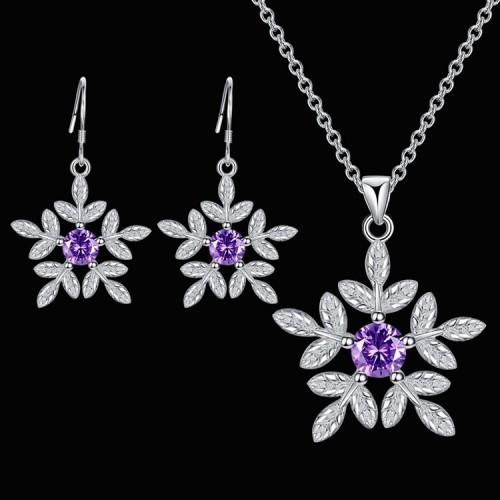 Komplet srebrnej biżuterii - naszyjnik + kolczyki