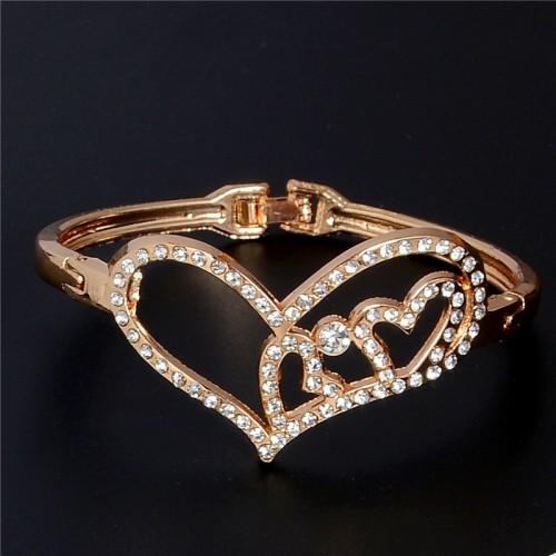 Bransoletka z kryształami - kolor złoty - BC092