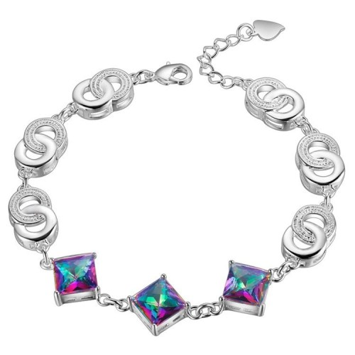 Srebrna bransoletka - piękne kryształy