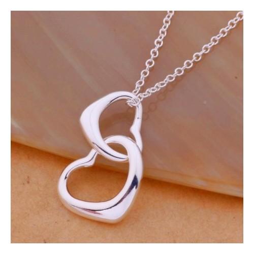 Srebrny naszyjnik - dwa serca