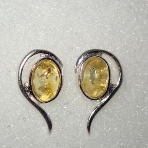 Srebrne kolczyki z naturalnym bursztynem ER173