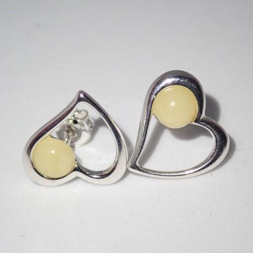 Srebrne kolczyki z kroplami bursztynu ER226
