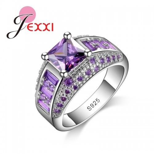 Srebrny pierścionek z pięknymi kryształami P088