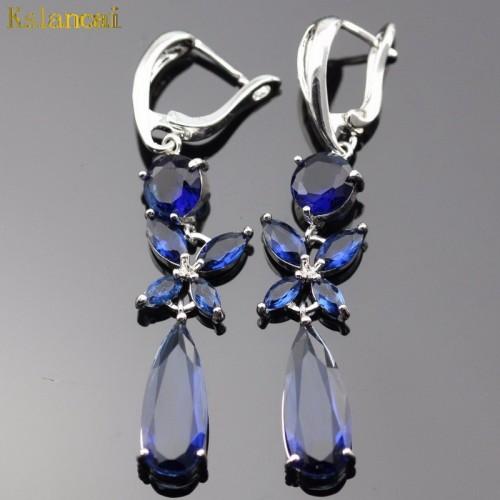 Posrebrzane kolczyki z pięknymi kryształami ER246