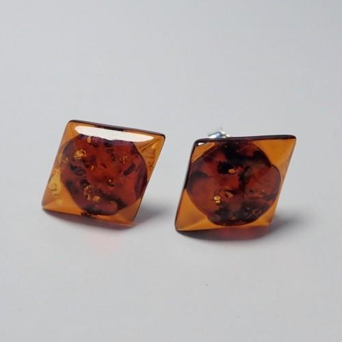 Kolczyki ze srebra i bursztynu aper036