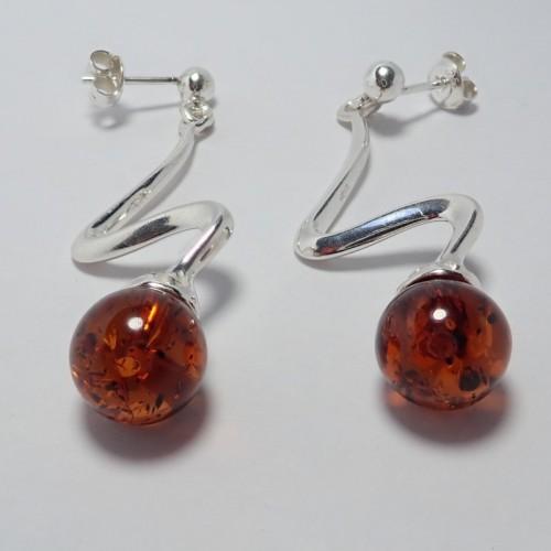 Kolczyki ze srebra i bursztynu aper047