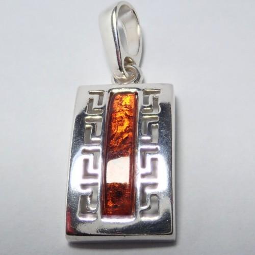 Naszyjnik ze srebra i bursztynu APNE011