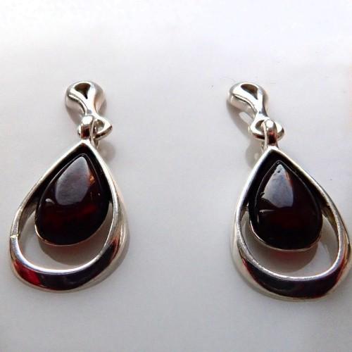 Kolczyki ze srebra i bursztynu aper049
