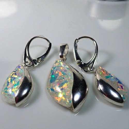Komplet srebrnej biżuterii. Próba 925. Kamienie - Opal KJS010o