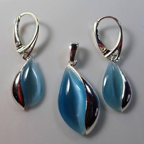 Komplet srebrnej biżuterii. Próba 925. Kamień Agat aqua KJS012AA