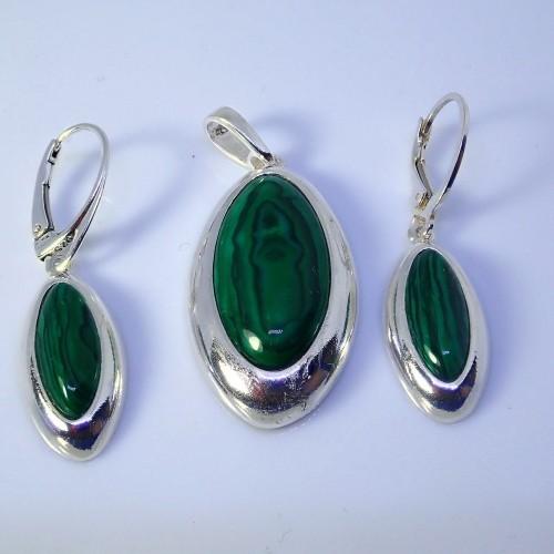 Komplet srebrnej biżuterii. Próba 925. Kamień Malachit KJS026M