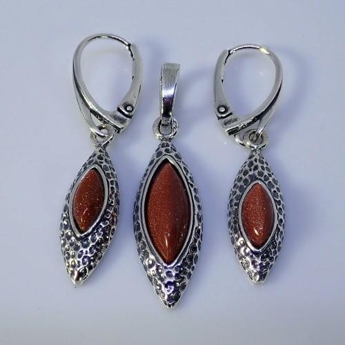 Komplet srebrnej biżuterii. Próba 925. Kamień piasek pustyni KJS027pp