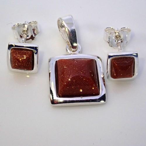 Komplet srebrnej biżuterii. Próba 925. Kamień piasek pustyni KJS031pp