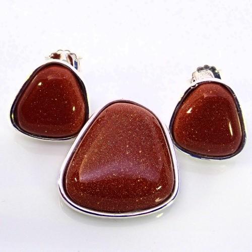 Komplet srebrnej biżuterii. Próba 925. Kamień piasek pustyni KJS033pp