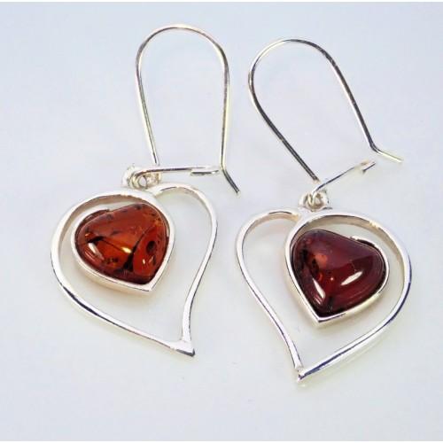 Kolczyki ze srebra i bursztynu LXER016