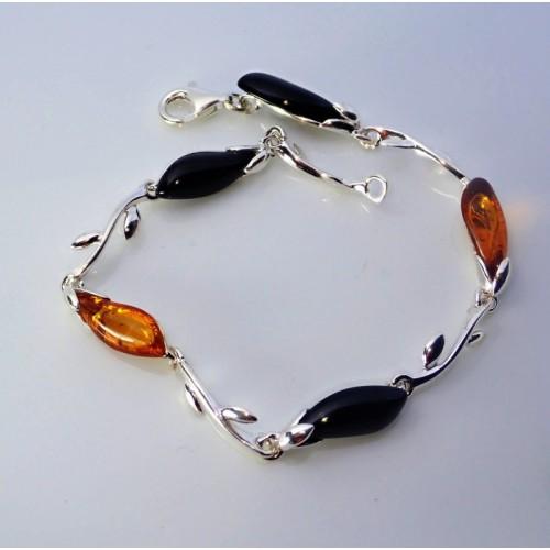 Srebrna bransoletka z bursztynem - LXBC012