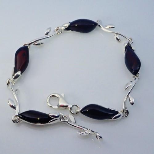Srebrna bransoletka z bursztynem - LXBC017