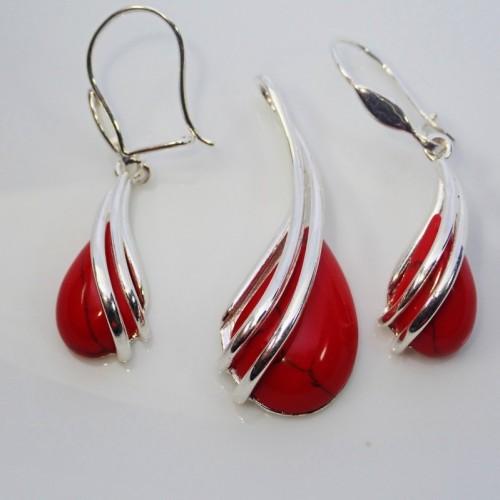 Komplet srebrnej biżuterii. Kamień Koral czerwony. KJS042