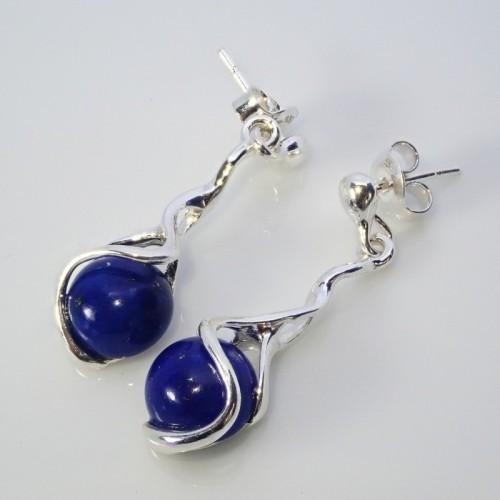 Srebrne kolczyki. Kamień: Lapis Lazuli. Próba 925. LXER058LL