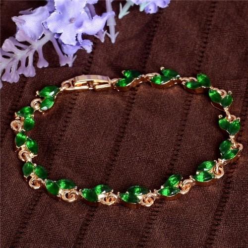 Bransoletka Gold z zielonymi kryształami