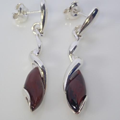 Kolczyki ze srebra i bursztynu LXER081