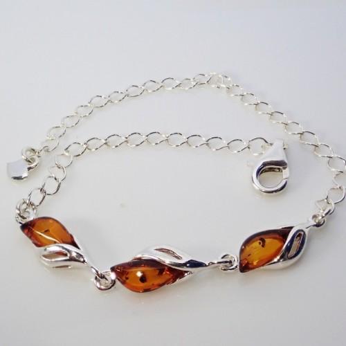 Srebrna bransoletka z bursztynem - LXBC021
