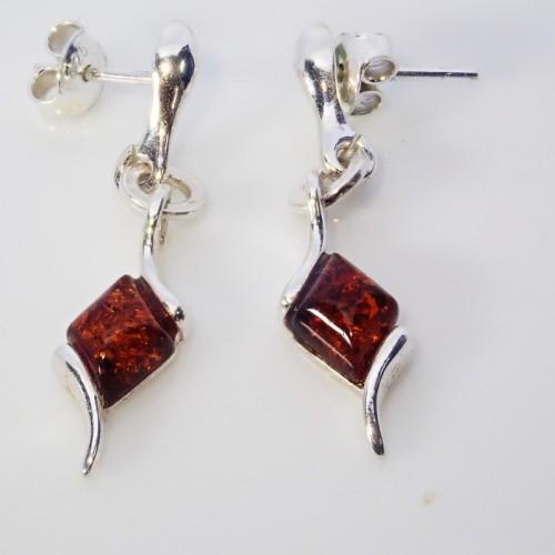 Kolczyki ze srebra i bursztynu LXER083