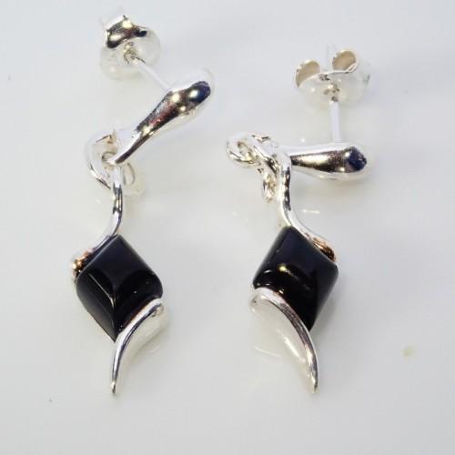 Kolczyki ze srebra i bursztynu LXER084