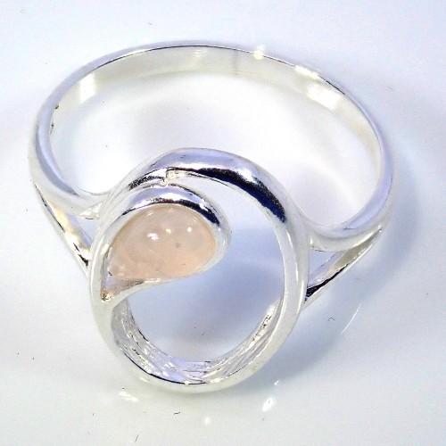 Srebrny pierścionek . Kamień: Kwarc Różowy. Próba 925. LXR002KR-P-D85