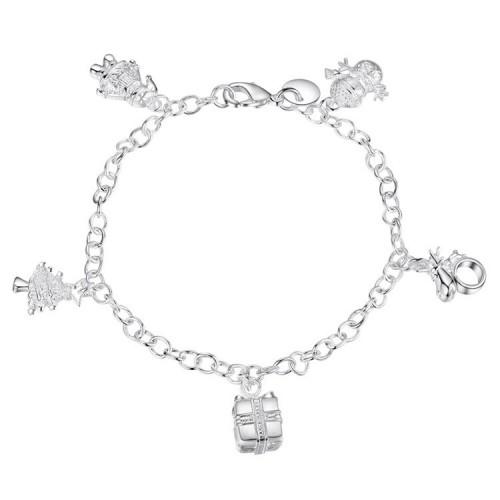 Delikatna srebrna bransoletka z zawieszkami BC070
