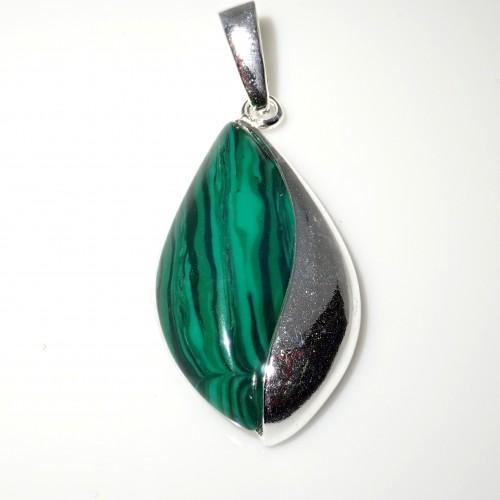 Komplet srebrnej biżuterii. Próba 925. Kamień Malachit. KJS010M