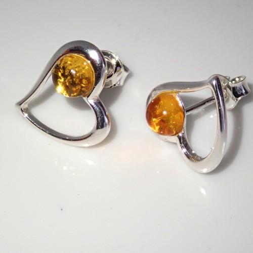 Kolczyki ze srebra i bursztynu aper054