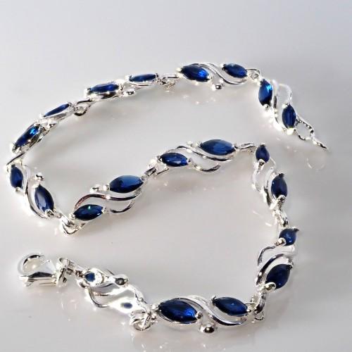 Srebrna bransoletka z cyrkoniami. Próba 925. KBC007 Blue