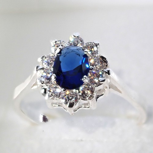 Piękny srebrny pierścionek - KP003 blue