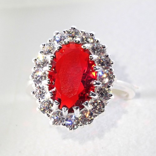 Piękny srebrny pierścionek - KP002 red