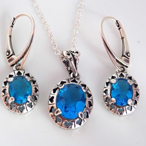 Komplet srebrnej biżuterii. Próba 925. Piękne cyrkonie KJS005c