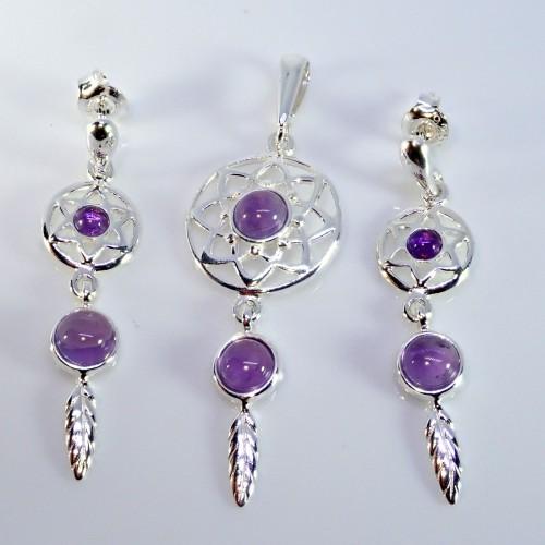 Komplet biżuterii zawieszka + kolczyki. Kamień - Agat Aqua - LXJS002AA