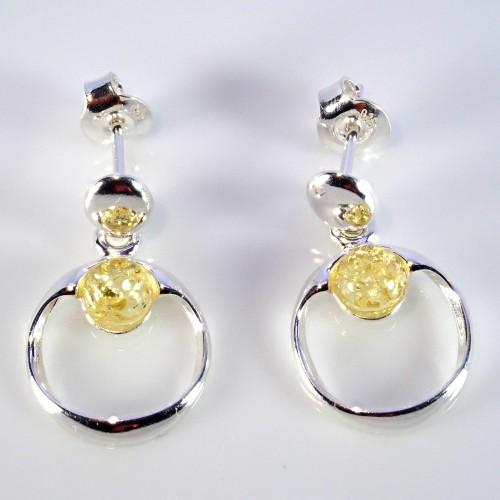 Komplet biżuterii zawieszka + kolczyki. Srebro 925 + bursztyn - LXJS-D33