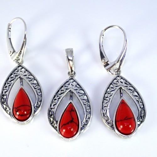 Komplet srebrnej biżuterii. Próba 925. Kamień koral czerwony KJS007K