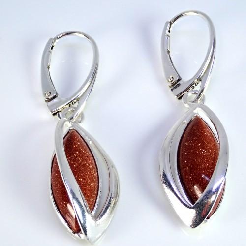 Komplet srebrnej biżuterii. Próba 925. Kamień piasek pustyni KJS025pp