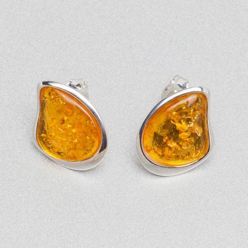 Kolczyki ze srebra i bursztynu APER003A