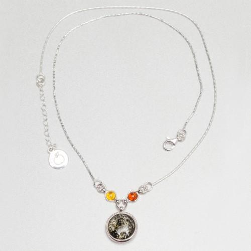 Naszyjnik ze srebra i bursztynu APNE006A