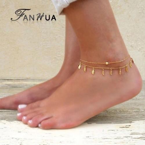 Bransoletka na kostkę w kolorze złota