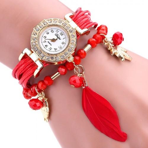 Zegarek damski z bransoletką i piórkiem