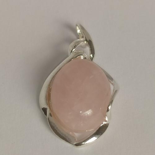 Srebrny naszyjnik z różowym kwarcem. Próba 925. LXNE013AS.