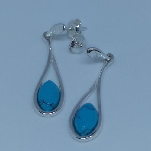 Srebrne kolczyki z niebieskim agatem. Próba 925. LXER014AS.