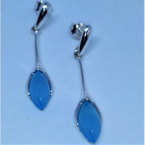 Srebrne kolczyki z niebieskim agatem. Próba 925. LXER015AS.