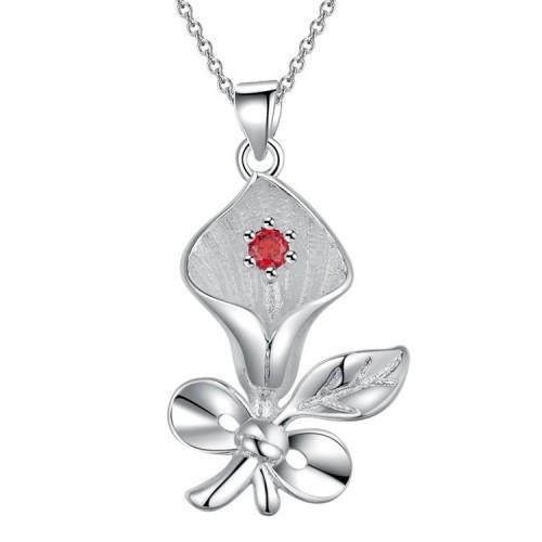 Srebrny naszyjnik z motywem kwiatowym